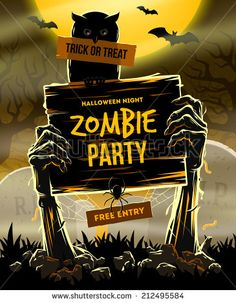 Halloween vector illustration - Dead Man's arms from the ground with invitation to zombie party - stock vector
