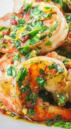 Grilled Shrimp with Roasted Garlic-Cilantro Sauce by themediterraneandish #Shrimp #Garlic #Cilantro #Healthy