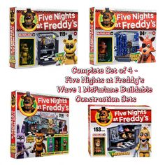 Complete Set of 4 - Five Nights at Freddy's FNAF Wave 1 McFarlane Construction Sets - Golden Freddy The Office - 119PCS - #12031, Foxy Pirate Cove - 94PCS - #12032, Freddy, Bonnie, & Chica Show Stage - 314PCS - #12035, & Chica Backstage - 153PCS - #12036