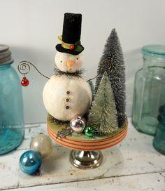 Snowman // Christmas Decoration // Folk Art // by CatandFiddlefolk, $62.00
