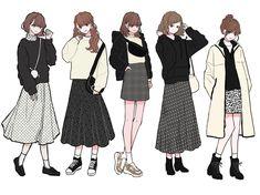 Korean Girl Fashion, Korean Street Fashion, Cute Fashion, Fashion Art, Fashion Outfits, Fashion Design Drawings, Fashion Sketches, Anime Outfits, Cute Outfits