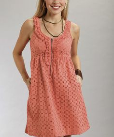 This Coral Eyelet Zipper Dress - Women by Stetson is perfect! #zulilyfinds