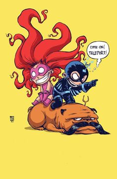 Medusa and Black Bolt by Skottie Young *