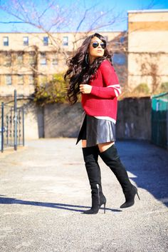 #peaceloveandcashmere #shutzlover @360sweater http://www.nytrendymoms.com/2014/12/skirt-and-high-boots.html