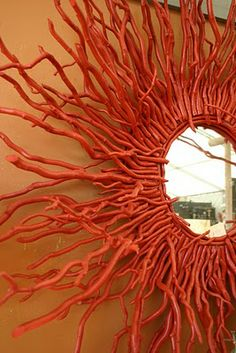 twig mirror _ painted like coral - twig mirror _ painted like coral The Effective Pictures We Offer You About diy home decor A qualit - Twig Crafts, Driftwood Crafts, Nature Crafts, Home Crafts, Diy Home Decor, Mirror Crafts, Diy Mirror, Twig Art, Stick Art