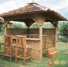 Bamboo Spa Hot Tub Enclosure Tiki Bar 2 Barstools New | eBay