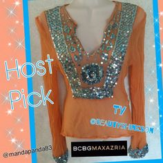 """BCBGMaxAzria Orange Top w/ Turquoise Sequins⭐️HP EUC Beautiful sheer orange blouse with turquoise sequins accenting the front v neck and cuffs. Absolutely stunning! Thank you! Host Pick 1/18 """"Best in Tops"""" by the beautiful @beautyshineson  BCBGMaxAzria Tops Blouses"""