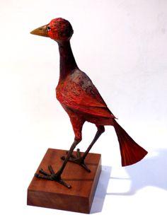 Red Woozle Bird.  Papier Mache. By Phil Lockwood
