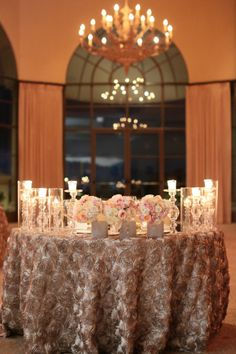 Sweetheart table ideas Silk Rose Covered Table Linens