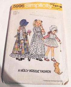 1970s Boho Girls Peasant Dress Prairie Pinafore maxi ruffle Holly Hobbie Bonnet vintage sewing pattern Simplicity 5996 Size 5 Chest 24""