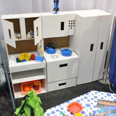 if you have plenty of cardboard boxes to spare, why not make an entire kitchen.