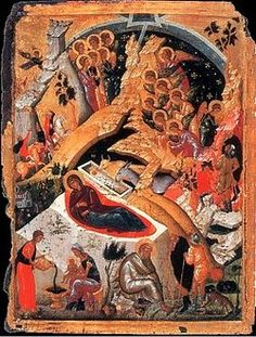 Religious icon of Nativity.It is a hand painted copy from Byzantine Museum of Athens Religious Icons, Religious Art, Jesus Childhood, Renaissance Image, Illumination Art, Happy Birthday Jesus, Orthodox Icons, Christmas Illustration, Sacred Art