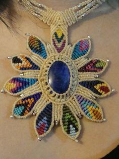macrame necklces | Home » Macrame Beige Rainbow Necklace with Lapis Lazuli