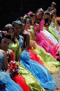 Quinceanearas:  in Mexico 15 is the debutante age. Princess for a day.