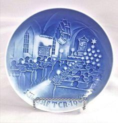 Vtg-Bing-amp-Grondahl-B-amp-G-Porcelain-Christmas-in-Church-Plate-1968-Copenhagen