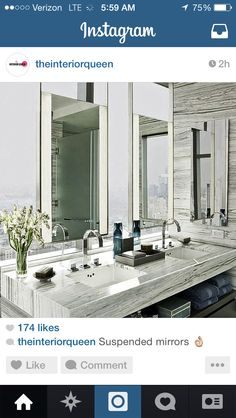 The double mirrors and gray counter