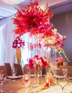 Stunning Red Table and Centerpieces