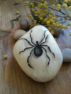 Hand-painted on stone Spider hand-painted on stone by AxiKedi