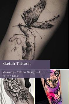 """""""Sketch"""" is a contemporary tattoo style that's been rising in popularity along with other modern techniques. As tattoos become more mainstream, the people who visit tattoo shops become more diverse. To accommodate the expanding number of tattoo clients, and diversity within the artists themselves, ink is becoming more innovative. Girl Leg Tattoos, Hip Tattoos Women, Cool Forearm Tattoos, Cool Small Tattoos, Head Tattoos, Tattoos For Women Small, Tattoos For Guys, Sketch Tattoo Design, Best Tattoo Designs"""