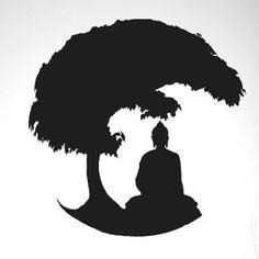 Gautama Buddha Under Bonsai Tree Wall Sticker Cut It Out Wall Stickers Colour: Black Buddha Artwork, Buddha Painting, Zen Painting, Gautama Buddha, Buddha Tattoo Design, Buddha Tattoos, Lord Buddha Wallpapers, Buddha Drawing, Tree Wall
