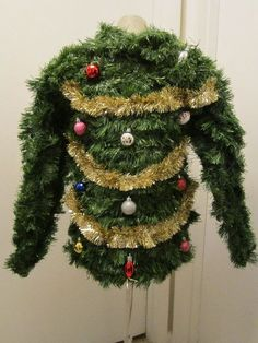 The ugliest of all ugly Christmas sweaters. /erinewhitaker/ just wrap yourself in garland, hang some ornaments and add some tinsel!!!!!