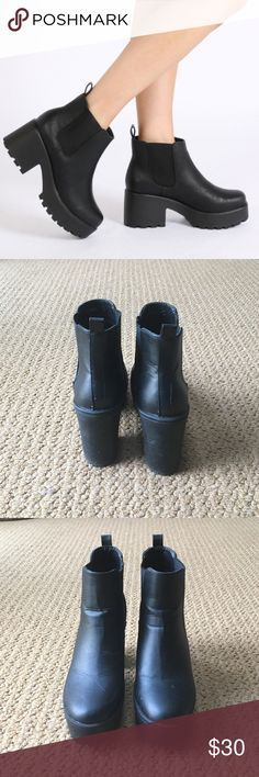 Platform Ankle Boots 90s inspired platform booties, worn once! Fits like a size 7 (labeled 37). From Public Desire. Public Desire Shoes Ankle Boots & Booties