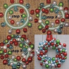 Making a wreath out of Xmas decorations