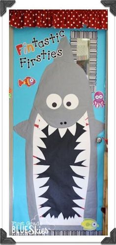 First Grade Blue Skies Big classroom reveal! Love the fin-tastic letters! Creative Teaching Press Chevron Letters and Black Dot-to-Sot letters. Classroom Bulletin Boards, Classroom Door, Classroom Design, Science Classroom, Future Classroom, Classroom Themes, Classroom Organization, Beach Bulletin Boards, Ocean Themed Classroom