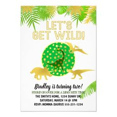 Customizable Green and Gold Dino Party Invitation 1st Birthday Party Invitations, First Birthday Parties, First Birthdays, Gold Invitations, Printable Invitations, Custom Invitations, Dinosaur First Birthday, Green And Gold, Dinosaurs