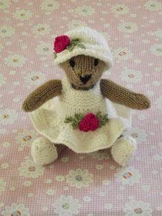 hand knitted small teddy bear