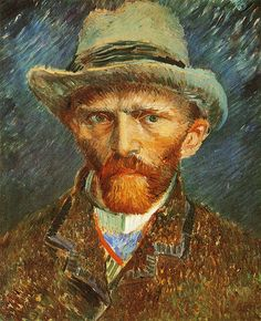 This is a self-portrait created by the famous artist, Vincent van Gogh, in 1888. The name of this self-portrait is called 'Self Portrait with Felt Hat'.