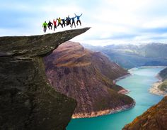 """Trolltunga – from Norwegian means -""""Troll's tongue"""",is a rockstretched out horizontally (looks like agianttongue), it is a part of mountainSkjeggedal located in Odda, Norway. it is a prettypopular viewpoint high above the ground (nearly 1200 meters), and it can shake and twirl your insides just to watch people get so close to the edge.  by OpplevOdda.com"""