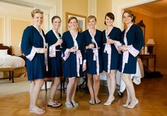 Love this wedding party in bridesmaid robes! #bridesmaids