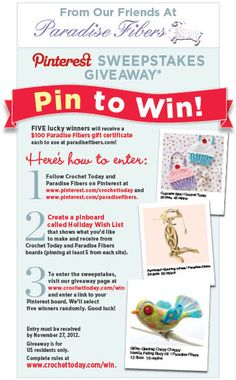 Paradise Fibers Pinterest Sweepstakes Giveaway | crochet today