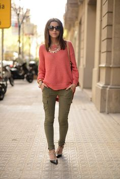Make a bright, chunky knit sweater pop by paring it with a dusty olive pant.