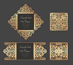 Set Laser cut Wedding Invitation Templates Gate Fold Card /