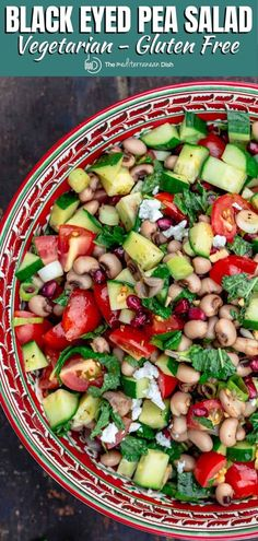 Flavor-packed black eyed pea salad, prepared Mediterranean-style with chopped vegetables, fresh herbs, and a bright Mediterranean dressing. Pea Salad Recipes, Pea Recipes, Vegetarian Recipes Easy, Side Dish Recipes, Lunch Recipes, Healthy Recipes, Easter Recipes, Mediterranean Dishes, Mediterranean Diet Recipes