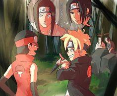 Neji and Boruto ♡ Itachi and Sarada Naruto Shippuden Sasuke, Naruto And Sasuke, Anime Naruto, Sarada E Boruto, Naruto Comic, Naruto Cute, Naruhina, Otaku Anime, Comic Anime