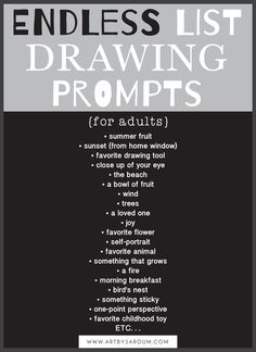 I'll be updating this list often (so I apologize if there are any repeats). My hope is that you'll fill up your own sketchbook with any of the ideas listed below. My personal goal is to do. Sketchbook Prompts, Art Prompts, Journal Prompts, Journal Ideas, Drawing Prompt, Drawing Skills, Drawing Tools, Sketching, 30 Day Art Challenge