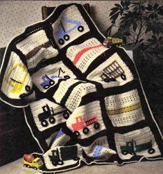 SPORTY Keep on Truckin' Afghan/BABY/Crochet Pattern Instructions