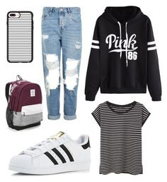 """""""Untitled #34"""" by gabporto on Polyvore featuring WithChic, Topshop, MANGO, adidas, Casetify and Victoria's Secret"""