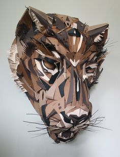 Jaguar mask - DOS - paper art by Jacqui Oakley Cardboard Sculpture, Paper Mask, Paper Artwork, Book Projects, Mask Making, The Conjuring, Black Art, Jaguar, Lions