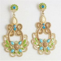 Earth Tone Jeweled Aqua Blue and Lime Green Accented Gold Plated Dangling Fashion Earrings 3.25