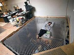 Hammock Bed   This Gave Me An Idea. Wouldnt It Be Fun (if I Was Rich) To  Have A Huge Kids Playroom With A Built In Indoor Trampoline For The Kids To  ...