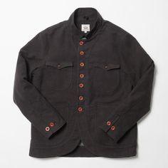 Made By Scrub Mandarin Collar Sack Coat in Charcoal Grey