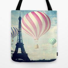 Hot Air Balloons Tote Bag Paris Fantasy Tote Eiffel by MGMart