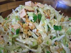 Chinese Chicken Salad with Cabbage, toasted Ramen Noodles and almonds.  Have made this lots and family loves it!
