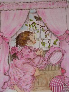 Pillow- textile paiting. Sarah Kay pilt