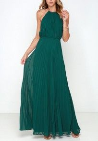 Green Plain Pleated Collarless Sleeveless Elegant Maxi Dress