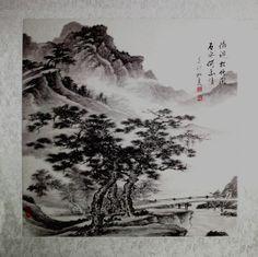 """Acuarela tradicional china  """"Árbol en la Montaña"""" (山中青松 shan zhong qing song).  Las Shuimo Hua o acuarelas tradicionales chinas son conocidas en China como la """"pintura nacional"""", es el tipo de pintura más importante del país.    El arte de las acuarelas chinas o Shuimo hua se remonta a la dinastía Tang (618-907), época en la cual se empezó a utilizar agua (""""shui"""") y la tinta china ( """"mo"""")."""